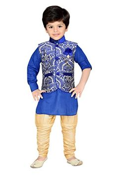 AJ Dezines Kids Kurta Pyjama and Waistcoat Set for Boys - http://www.zazva.com/shop/kids-clothing-accesories/aj-dezines-kids-kurta-pyjama-waistcoat-set-boys-2/ Exclusive Design and Fashionable Look Festival and Party Wear for Kids Material-Cotton