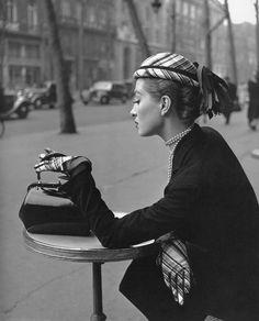 Capucine, Boulevard de la Madeleine, photo by Georges Dambier, ELLE, 1952