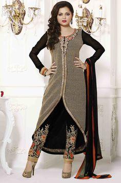 USD 67.26 Drashti Dhami Black Georgette Pakistani Style Suit 54445