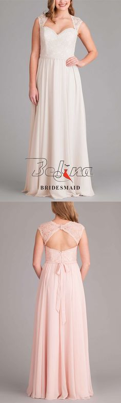 You'll love this elegant white lace queen anne bodice long chiffon bridesmaid dress. Queen Anne neckline with illusion cap sleeves, fitted sweetheart-cut lace bodice, removable chiffon sash at waist for extra style, and pleated a-line chiffon skirt flowin Queen Anne Neckline, White Bridesmaid Dresses, Chiffon Skirt, Lace Bodice, White Lace, Cap Sleeves, Elegant, Skirts, Style