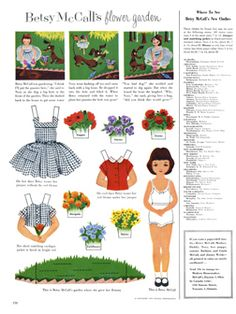 McCall Betsy. Vintage Paper doll, printable flower garden