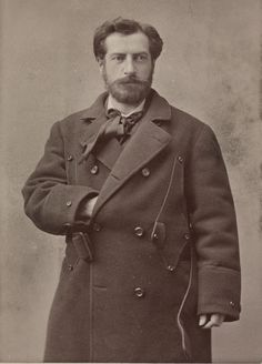 Frederic Auguste Bartholdi, sculptor, designer of The Statue of Liberty... wearing a nice overcoat, 1880s