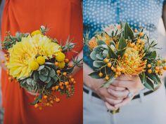 yellow and orange, dahlia, succulent, protea, berries, thistle