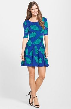 Plenty by Tracy Reese 'Lisa' Leaf Print Fit & Flare Sweater Dress | Nordstrom