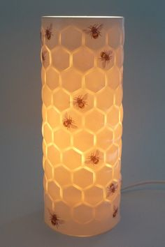 So in love with this Porcelain lamp with bee and honeycomb design