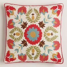 One of my favorite discoveries at WorldMarket.com: Red Suzani Embroidered Throw Pillow