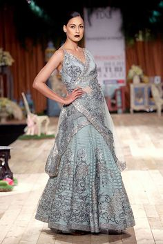 Antique pastel blue with silver and black embroidery