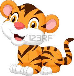 safari bebe: Historieta linda del tigre de bebé