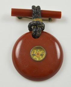 Vintage Genuine Brown Bakelite Dangling Compass Brooch
