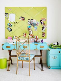 Make mismatched furniture pieces look like a set by painting them the same color, as seen in this homework station featured in #hgtvmagazine. http://www.hgtv.com/design/decorating/color/12-bold-color-tricks-to-try-in-every-room-pictures?soc=pinterest