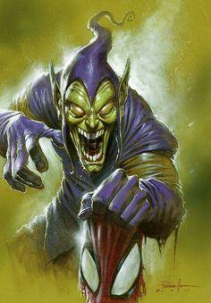 Green Goblin by Lucio Parrillo - Marvel Comics - Comic Book Art Comic Book Villains, Marvel Villains, Marvel Comics Art, Bd Comics, Comic Book Characters, Comic Book Heroes, Marvel Characters, Marvel Heroes, Comic Character