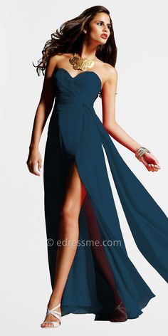 Navy Chiffon Strapless Evening Dresses by Faviana Couture at eDressMe