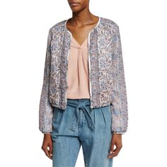 Joie Jodi Floral-Print Silk Bomber Jacket ($415) ❤ liked on Polyvore featuring outerwear, jackets, vintage petal, long sleeve jacket, silk bomber jacket, lightweight bomber jacket, vintage floral jacket and flower print bomber jacket