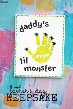 Crafts for Dad Daddy's Lil Monster Handprint Keepsake Darice is part of Baby crafts For Dad - Crafts for dad that are personalized with your child's own handprint will make for a very special keepsake Transform the handprint into a silly monster! Kids Fathers Day Crafts, Dad Crafts, Fathers Day Art, Daycare Crafts, Toddler Crafts, Preschool Crafts, Crafts For Kids, Baby Fathers Day Gift, Felt Crafts