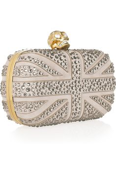 Alexander McQueen.  Britannia Skull Crystal-studded Suede Box Clutch.  This one is only $2,645 (!!).  God Save the Queen!
