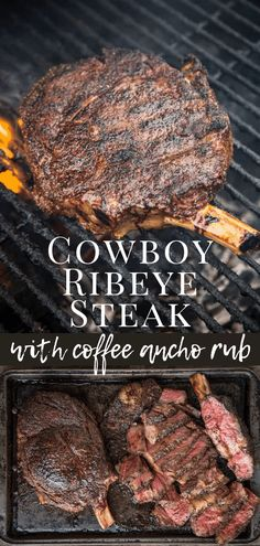 Cowboy Ribeye Reverse Sear Cowboy Ribeye Steak with a delicious coffee ancho dry rub is a steak to impress guests & feed a crowd. Learn the best way to cook this thick cut steak. Dry Rub Recipes, Steak Recipes, Grilling Recipes, Cooking Recipes, Healthy Recipes, Game Recipes, Smoker Recipes, Rib Recipes, Healthy Food