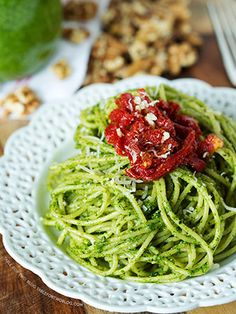 -TRY-Arugula Walnut Pesto and Sun-dried Tomato Pasta - arugula, Parm, walnuts, olive oil, sundried tomatoes