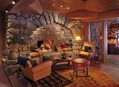 Rustic but grand interiors create the impression of being at a friend's fabulous hunting lodge.