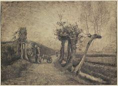 Road behind the Parsonage Garden in Nuenen. Pencil, pen and brush in brown ink; by Vincent van Gogh, 1884, Rijksmuseum