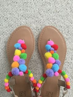 Pompom shoe sandal flip flop by PomPomStudioDesign on Etsy