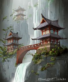 Image detail for -japanese temple by e-sketches on deviantart japanese gard Fantasy Art Landscapes, Fantasy Landscape, Asian Architecture, Ancient Architecture, Japanese Drawings, Japanese Art, Japanese Tattoos, Japanese Temple Tattoo, Temple Drawing