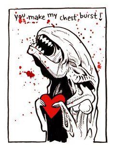 Aliens Xenomorph Valentine Card
