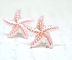 Starfish Earrings, Pink Star Fish, Nautical Ocean Jewelry Beach Jewelry, Pearly Pastel Pink Stud Earrings. $10.00, via Etsy.