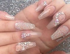 Nail Designs Acrylic Coffin Rhinestones Elegant 35 Awesome Beautiful Rhinestones Nail Art Ideas that You Can Copy Sexy Nails, Glam Nails, Nude Nails, Beauty Nails, Coffin Nails, Fabulous Nails, Gorgeous Nails, Pretty Nails, Acrylic Nail Art