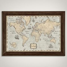 Vintage 1860 large map of the world set of 6 prints vintage map world map poster rustic vintage style by conquestmaps on etsy gumiabroncs Choice Image