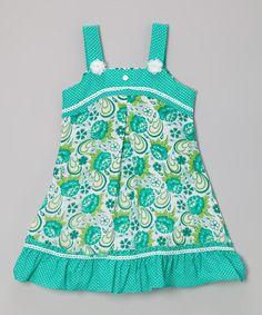 Green Floral Polka Dot A-Line Dress