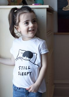 On a much lighter note, here's toddler model extraordinaire Zuzu in our new Still Sleepy kids' tee - a counterpart to our adult Not Today tee - which also aptly sums up today's gloomy Monday feelings. Toddler Modeling, Kid Styles, White Tees, Baby Fever, Children, Kids, T Shirts For Women, Instagram Posts, Cute