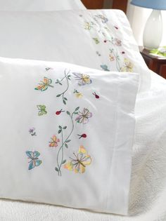 Fluttering butterflies are a treat to watch. Recreate these gorgeous beauties in your bedding ensembles with the help of Bucilla Butterflies In Flight Pillowcase Pair Stamped Embroidery Kit 20 x S Embroidery Transfers, Hand Embroidery Designs, Vintage Embroidery, Cross Stitch Embroidery, Embroidery Patterns, Embroidery Thread, Embroidered Pillowcases, Embroidered Towels, Joanns Fabric And Crafts