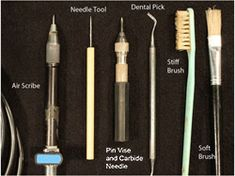 An assortment of tools used in fossil preparation.
