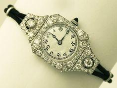 OnlineGalleries.com - Antique 2.62 ct Diamond and Platinum Ladies Cocktail Watch