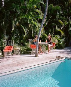 May 2013 Issue - The pool deck and palm-tree canopy at La Banane