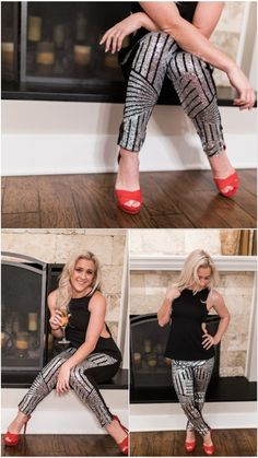"""The party pant! This pant features a fully sequined front with black and silver, and a solid black back with zipper closure. A perfect way to be festive and warm on cool nights! - Paired here with the """"Black Out Top"""""""
