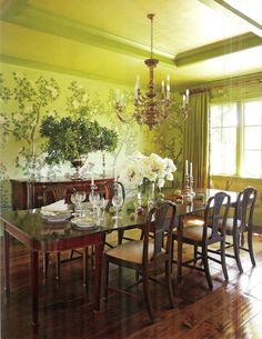 I am afraid I am developing a love for wallpaper in dining rooms.    A Flippen Life: Gracie Wallpaper