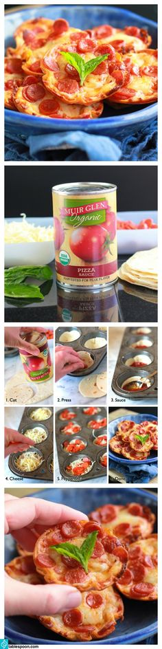 Wanna make the cutest, bite-sized pizzas around/ Muir Glen™ pizza sauce and Old El Paso™ tortillas come together in a surprisingly simple way to make leetle, tiny deep dish pizza bites!