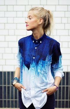 Blue Ombré , Blouse, Shirt, T-Shirt, All Over Print Streetwear Unisex
