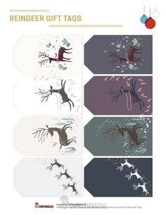Free printable reindeer gift tags for Christmas. Download them from https://christmasowl.com/download/gift-tags/reindeer/