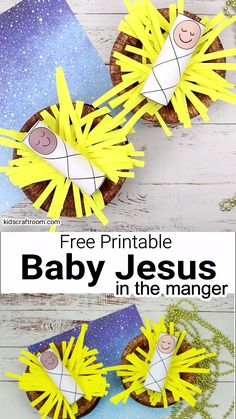 This Baby Jesus In A Manger Craft is super easy and cute. It's a fun Christmas craft for kids to interact with the Christmas story through play and they'll love being able to gently lift Baby Jesus in and out of his manger. It comes with a free Baby Jesus printable with 10 different face colours to choose from and a plain one you can colour yourself if you prefer. #kidscraftroom #christmascrafts #jesuscrafts #babyjesuscrafts #kidscrafts #nativitycrafts #sundayschoolcrafts #manger