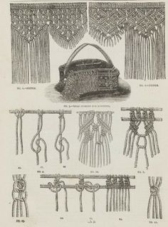 """Macrame! From the public domain book """"Complete guide to the work-table : containing instructions in Berlin work, crochet, drawn-thread work, embroidery, knitting, knotting or macrame, lace, netting, poonah painting, tatting, with numerous illustrations and coloured designs (1884)."""""""