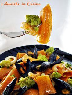 Maccheroni al Peperoncino con Frutti di Mare e Broccolo Romano | 2 Amiche in Cucina