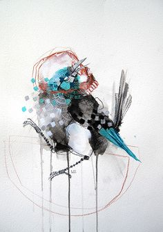 """Bird in SkullMixed media on watercolour paper13"""" x 19""""Available for sale"""