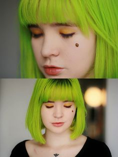 SO PRECIOUS. I am on such a green hair kick right now.  from http://lovelydyedlocks.tumblr.com/