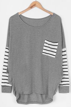 $19.99 Only with free shipping Now! This striped splicing top features front pocket&high low hem! We will shelter you like we always do at Cupshe.com . Check them out Now!