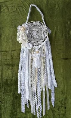 Boho dreamcathcher.Lace dreamcatcher.Bohemian dream catcher.Boho mobile.Shabby chic wedding decor.Shabby chic dreamcatcher.Wall hanging by VintageShopCreations on Etsy