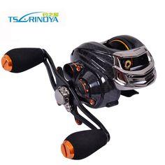 Trulinoya Bait Casting Fishing Reel 14 Bearings Black Left Right Hand Baitcast TS1200 Fishing Wheel