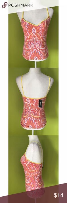 """Express Spaghetti Paisley Floral Orange Tank Top M B1163 New With Tag  Bust - 30"""" Waist - 21"""" Length - 21"""" excluding straps  Sleeveless, Yellow Spaghetti Strap, Square Neck,  Paisley, Floral, Multi Color, Orange Tank Cami Top   Free shipping on orders over $75 Express Tops Tank Tops"""