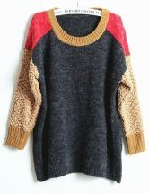 Grey Contrast Red Shoulder Khaki Long Sleeve Sweater $31.94
